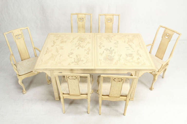 White lacquer oriental modern dining table with six chairs for White lacquer dining table