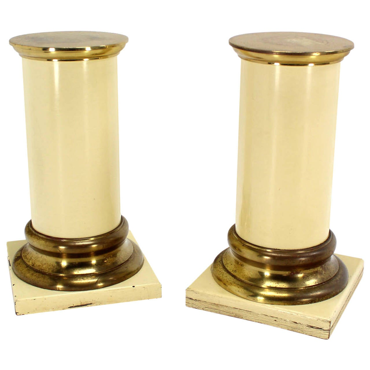 Pair of Brass and Lacquered Wood Pedestals For Sale