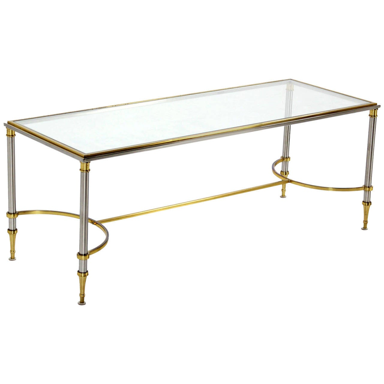Brass Chrome And Glass Low Console Or Coffee Table At 1stdibs
