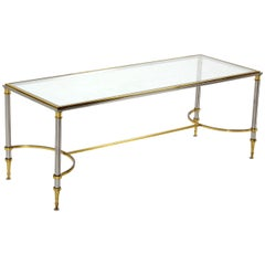 Brass Chrome and Glass Low Console or Coffee Table
