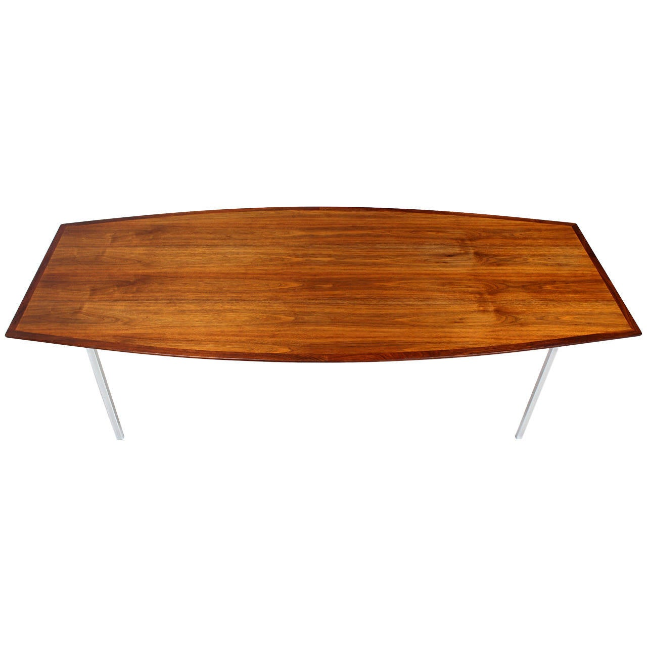 Glass conference table for sale - 8 Feet Long Walnut Boat Shape Dining Conference Table On Chrome Base Mid Century 1