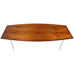 8 Feet Long Walnut Boat Shape Dining Conference Table on Chrome Base Mid Century