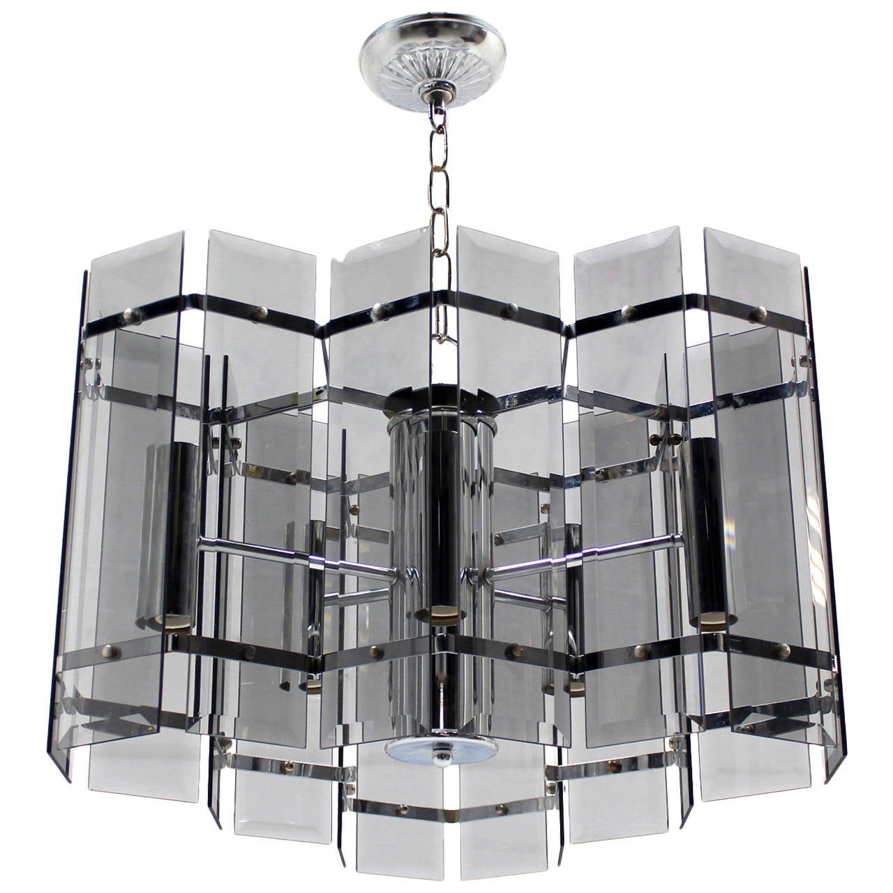 Mid century modern chrome and smoked glass light fixture for Mid century modern pendant light fixtures