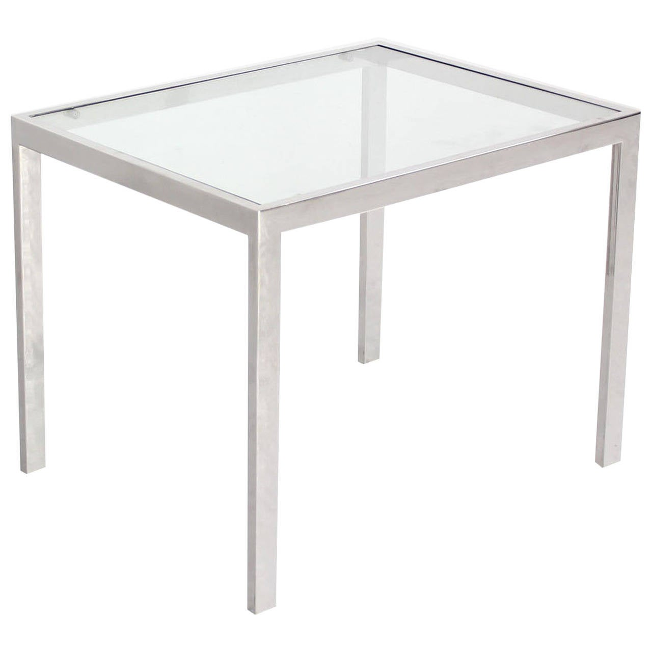 Chrome and Glass Mid-Century Modern Side Table For Sale at 1stdibs