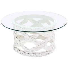 Tony Duquette Ribbon Round Coffee Table with Glass Top