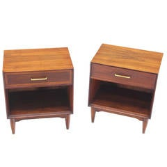 Pair of Mid-Century Modern Walnut End Tables with Brass Pulls