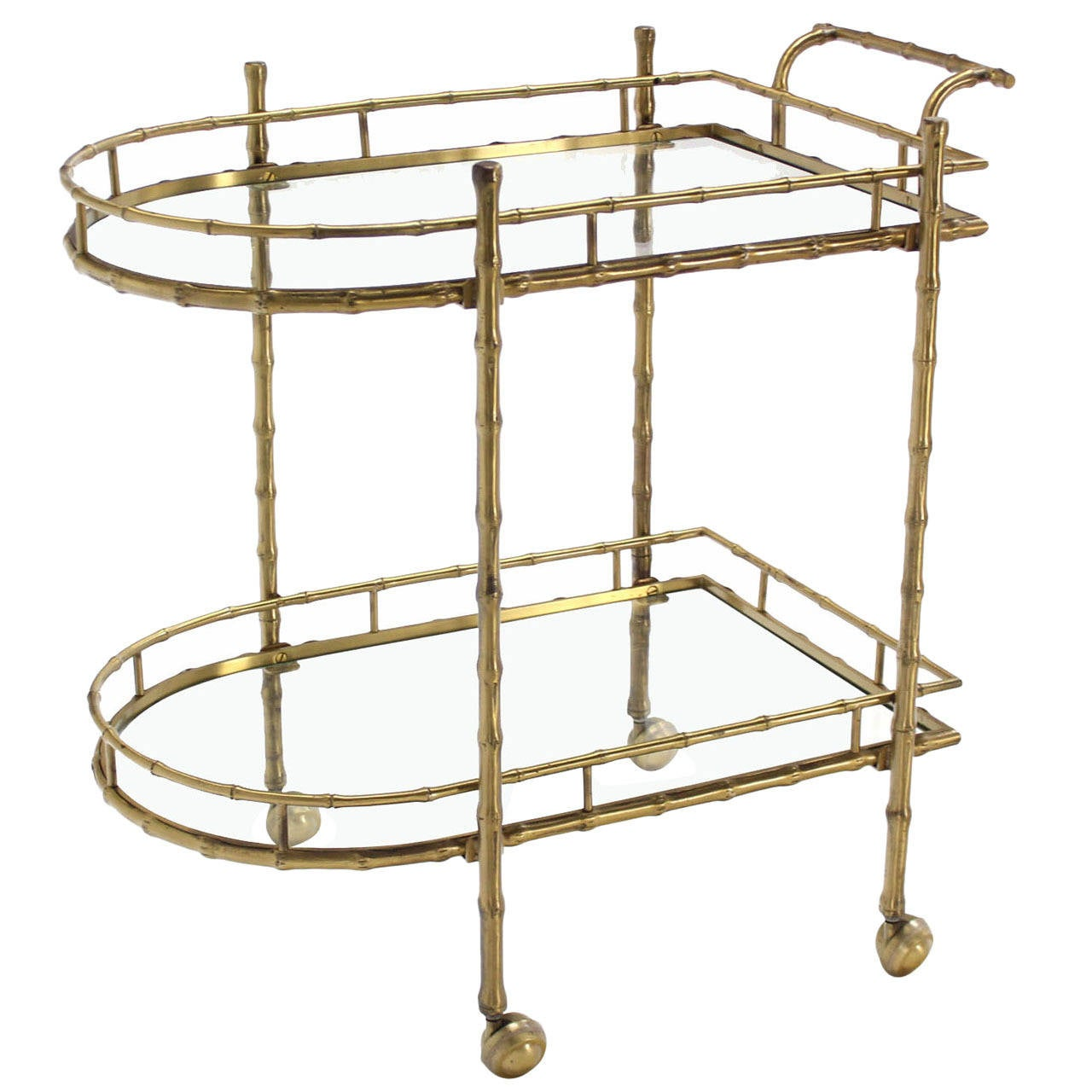 Faux Brass Bamboo Two-Tier Tea Serving Cart 1