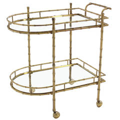 Faux Brass Bamboo Two-Tier Tea Serving Cart