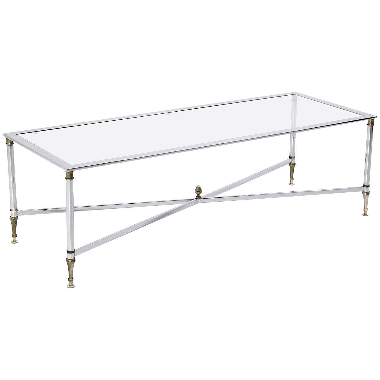 Chrome Brass X Base Glass Top Long Rectangle Coffee Table For Sale