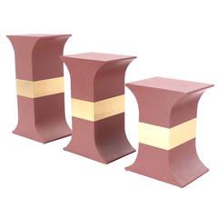 Grasscloth Wrapped Three Mid-Century Modern Pink Lacquer Brass Trim Pedestals