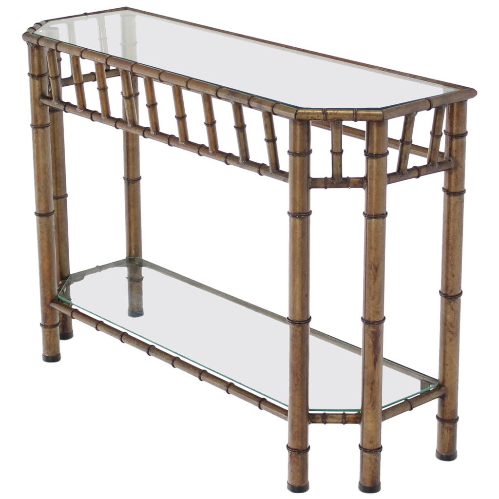 Metal faux bamboo medium size console table for sale at Metal console table