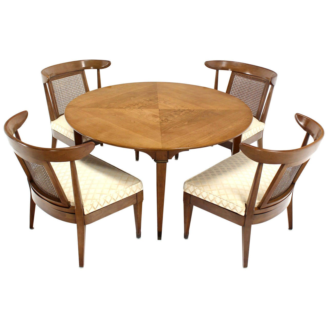 Mid century modern bridge game table with four chairs set for Dining room table for 4