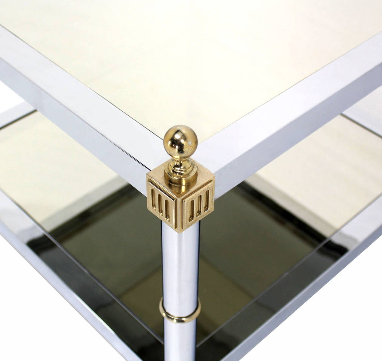 Pair of Chrome Brass and Smoked Glass Square End or Side Tables For Sale 1