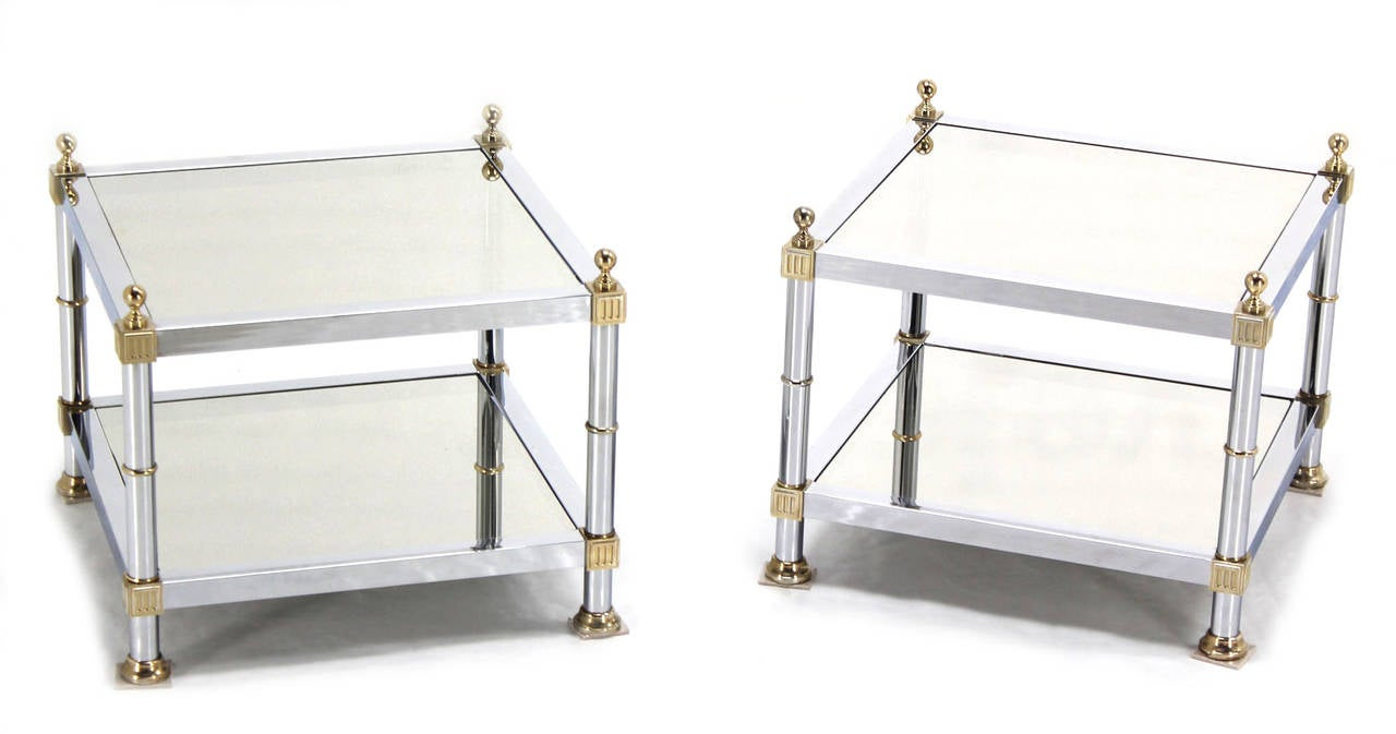 Pair of Chrome Brass and Smoked Glass Square End or Side Tables In Excellent Condition For Sale In Rockaway, NJ