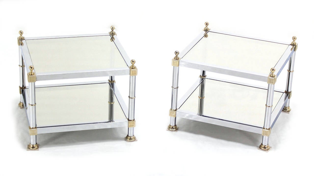 Pair of very sharp looking mid century modern square side tables. Excellent vintage condition. Beautiful polished chrome finish.
