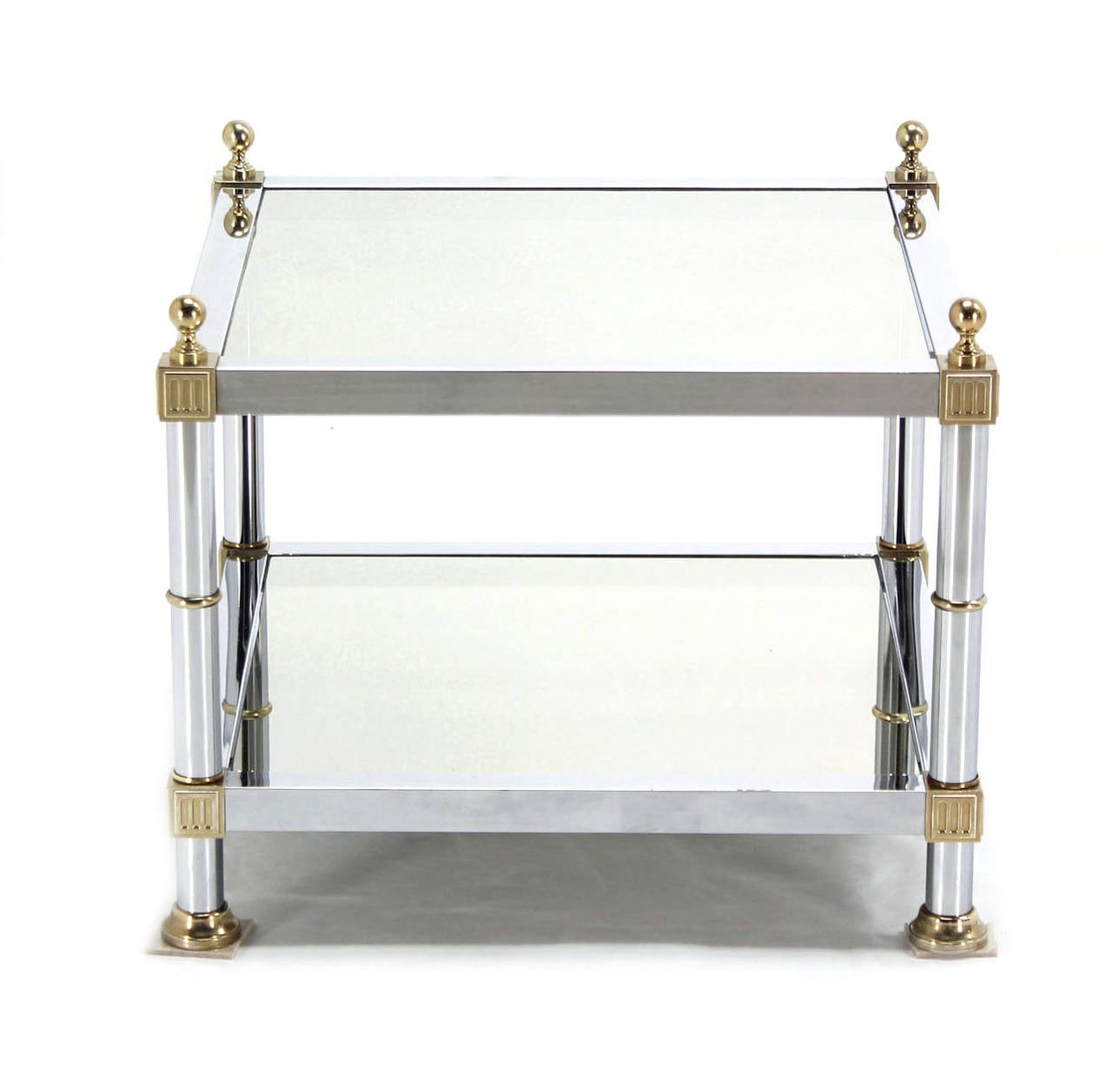 Polished Pair of Chrome Brass and Smoked Glass Square End or Side Tables For Sale
