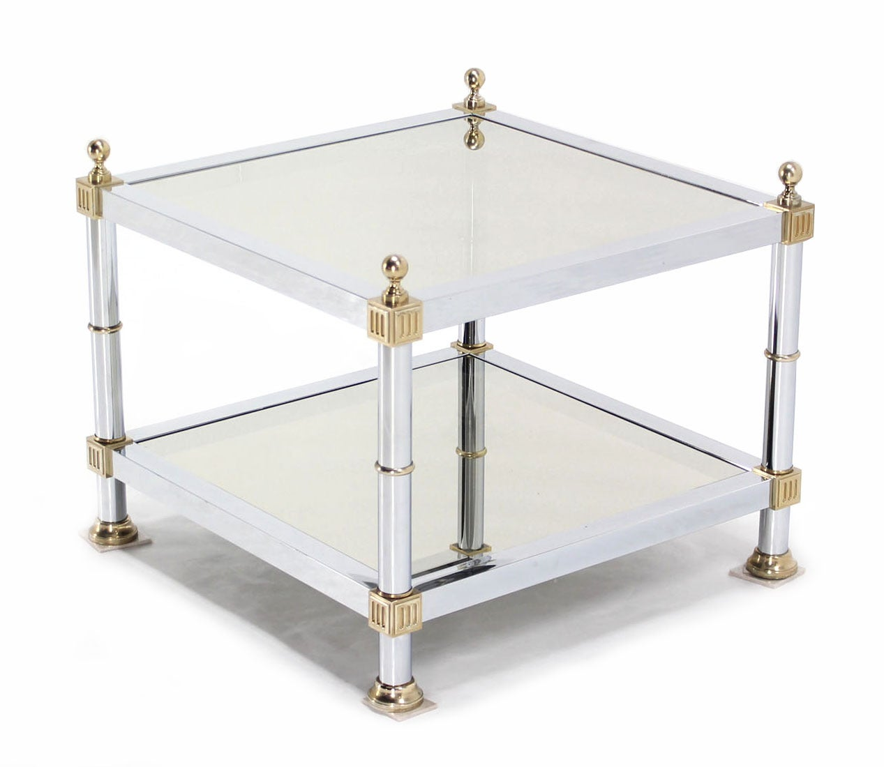 American Pair of Chrome Brass and Smoked Glass Square End or Side Tables For Sale