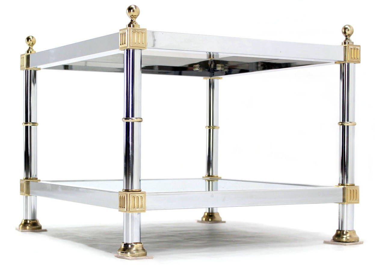 20th Century Pair of Chrome Brass and Smoked Glass Square End or Side Tables For Sale