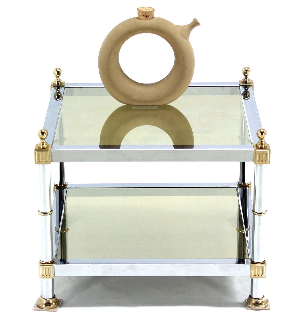 Pair of Chrome Brass and Smoked Glass Square End or Side Tables For Sale 3
