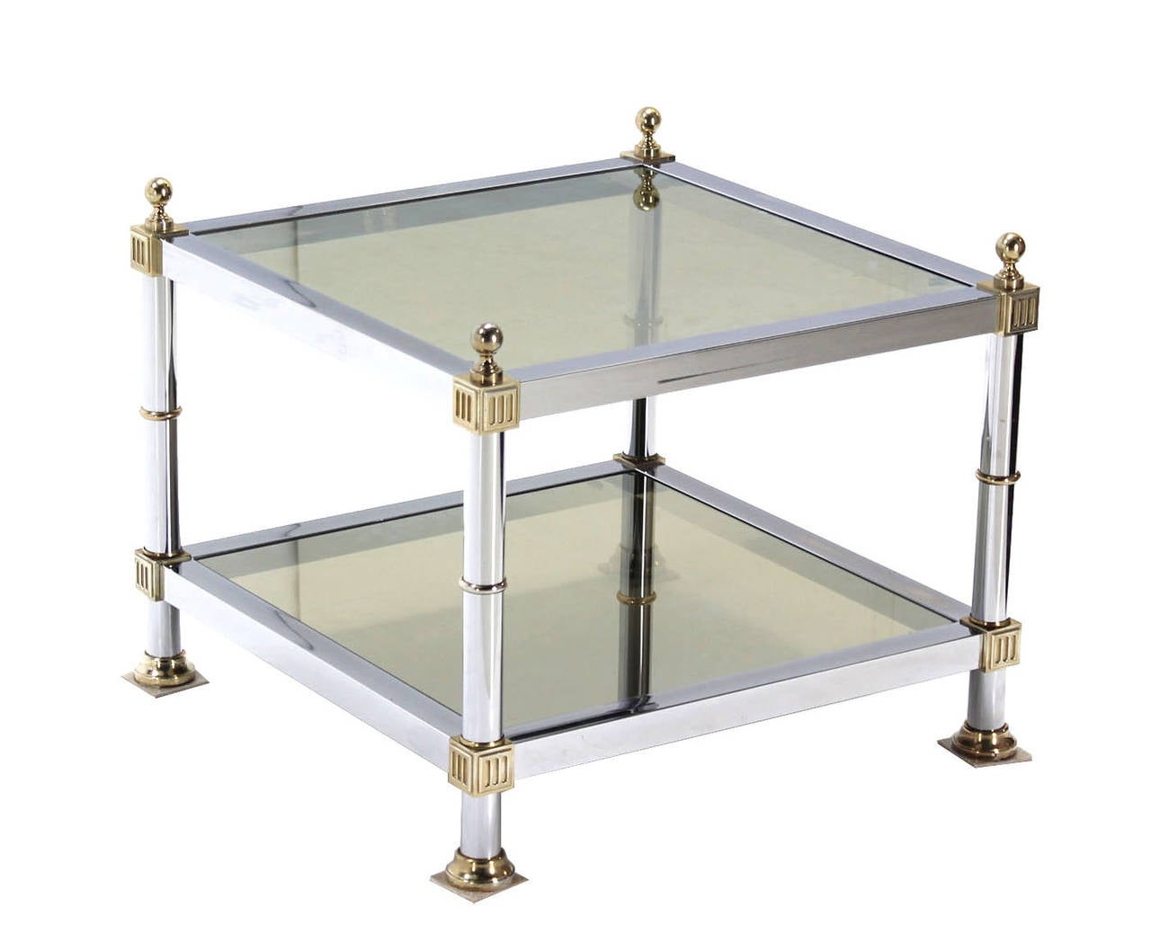 Pair of Chrome Brass and Smoked Glass Square End or Side Tables For Sale 2