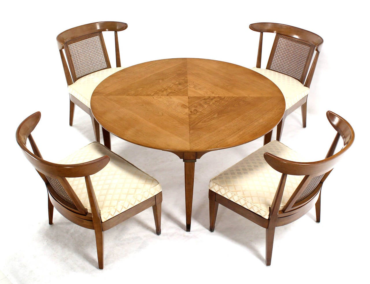 Mid Century Modern Bridge Game Table With Four Chairs Set