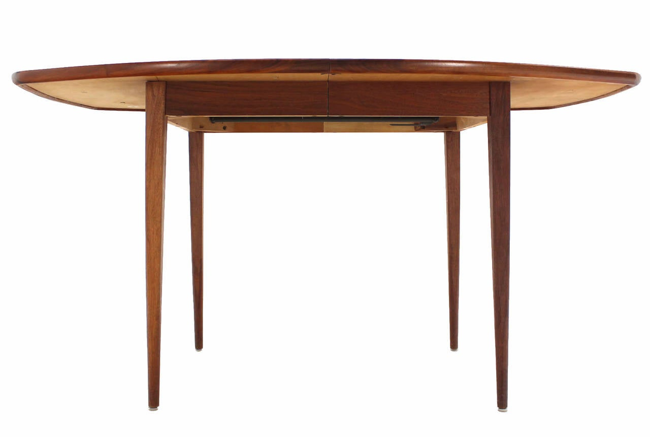 20th Century Oiled Walnut Dining Table with Two Extension Board Leaves For Sale
