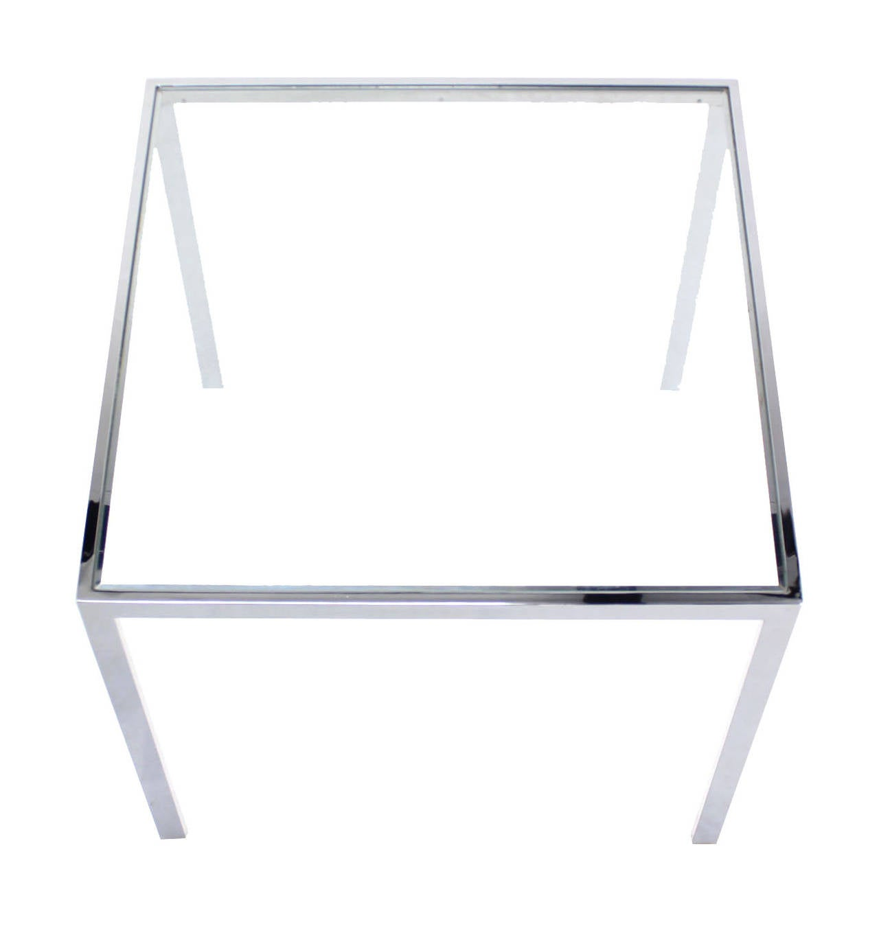 Square Cube Chrome And Glass Side Table 2