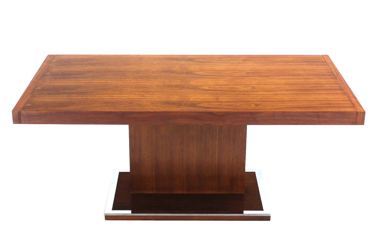 Mid century modern rectangular pedestal base walnut dining for Rectangle dining table