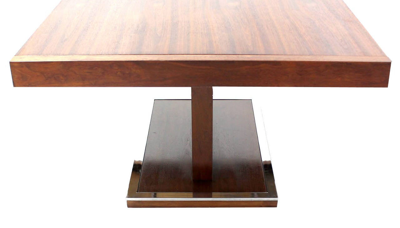Mid century modern rectangular pedestal base walnut dining for Mid century modern dining table