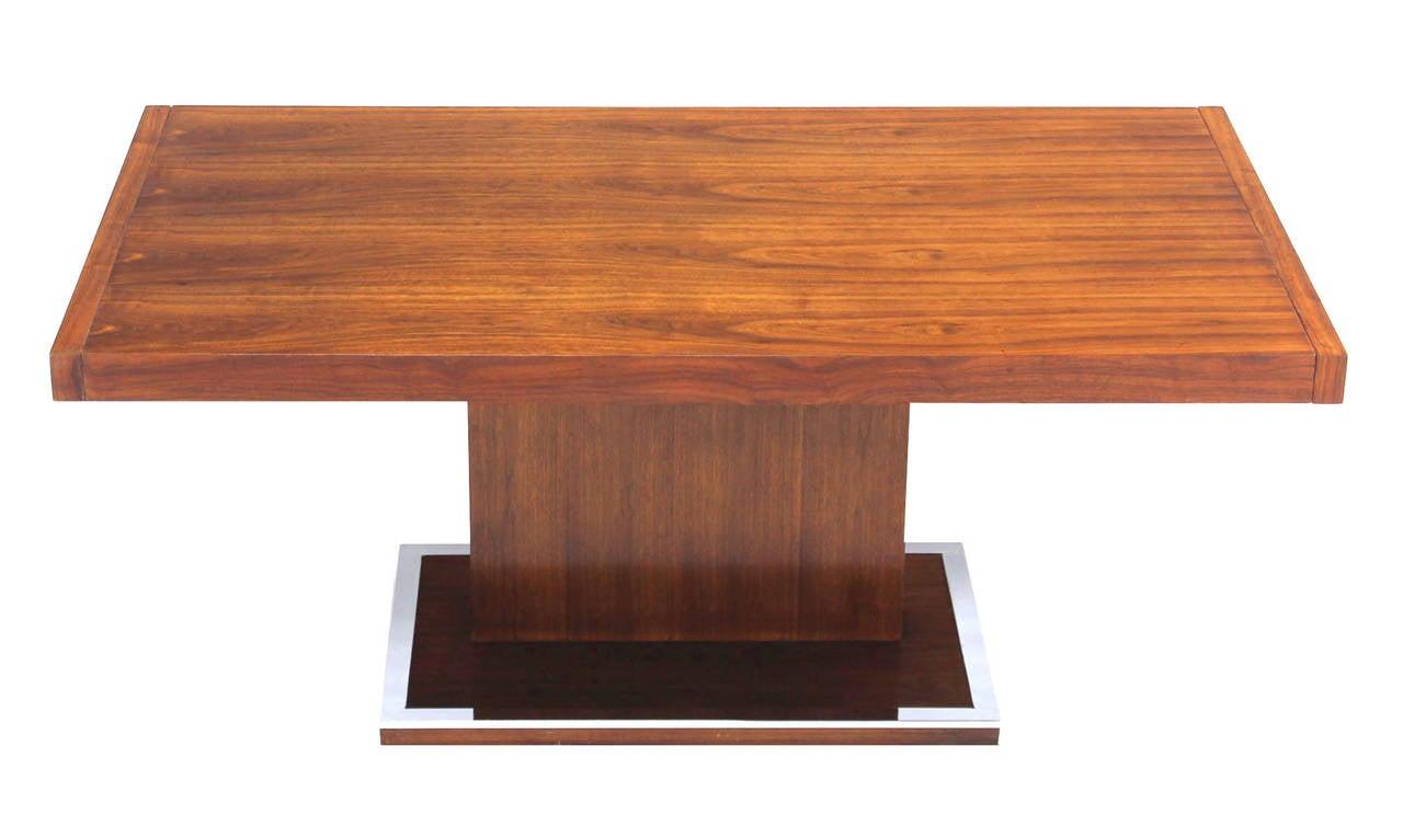 Century Modern Rectangular Pedestal Base Walnut Dining Table Image 10