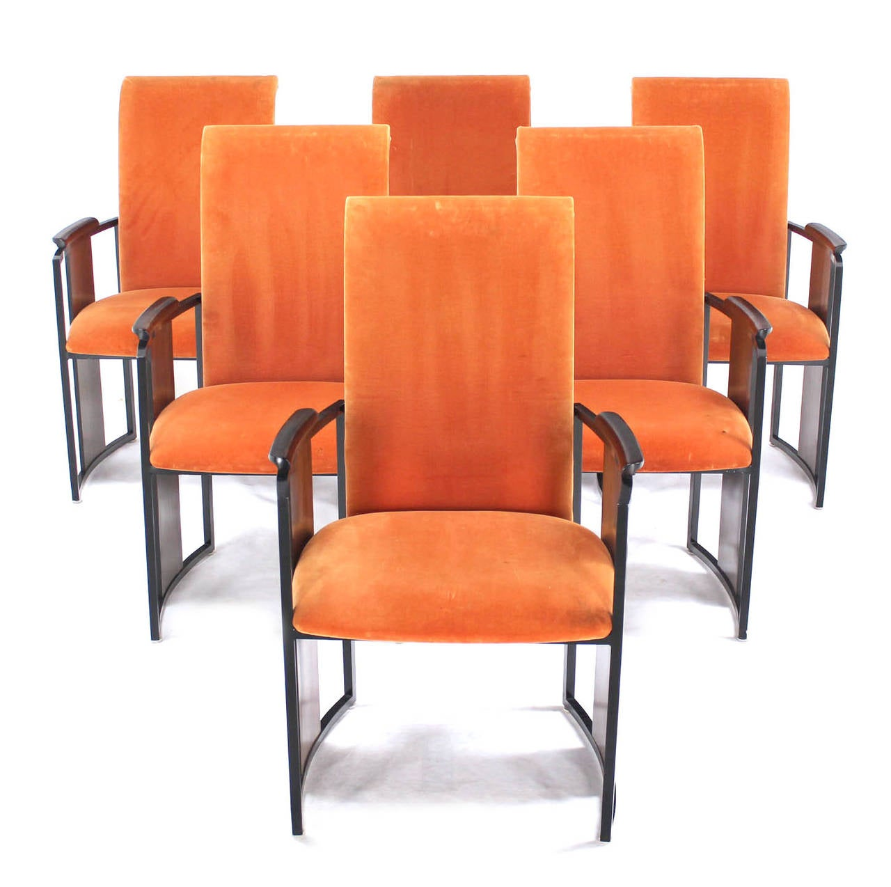 Set Of Six Mid Century Modern Metal And Rosewood Frame