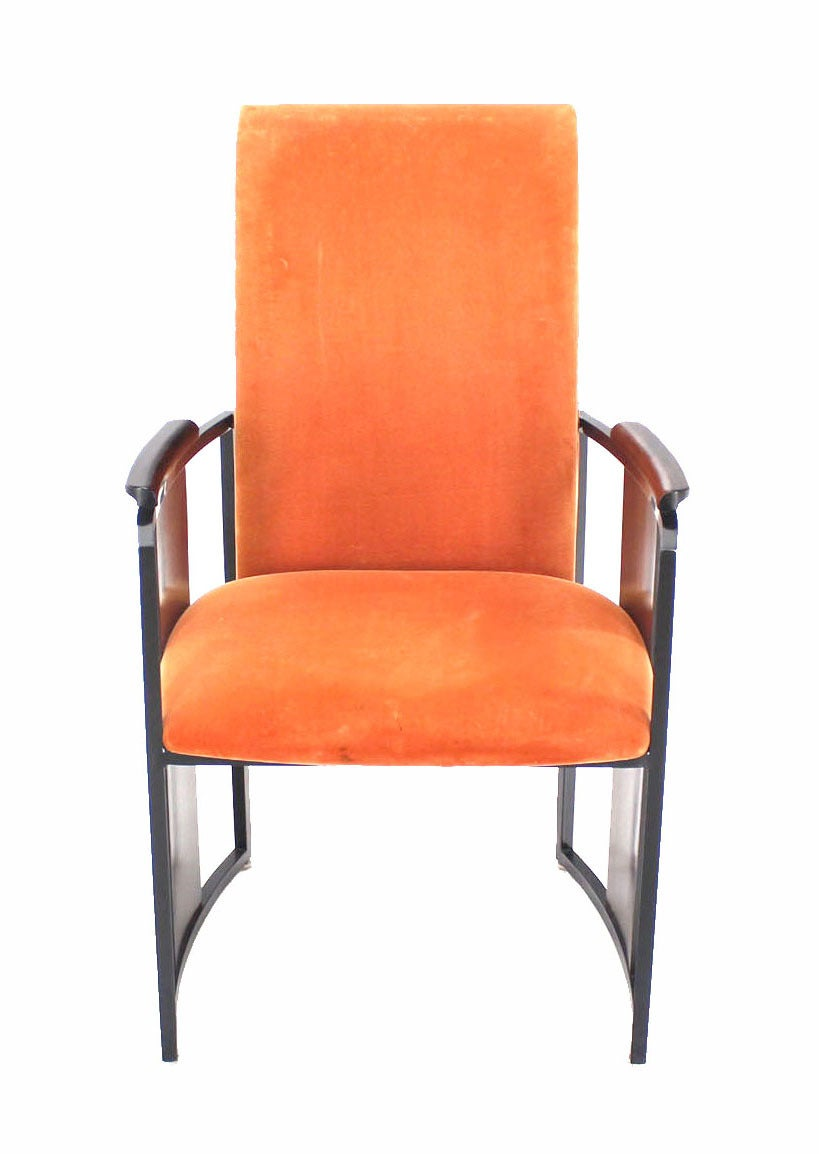 Set of six mid century modern metal and rosewood frame for Dining chairs metal frame