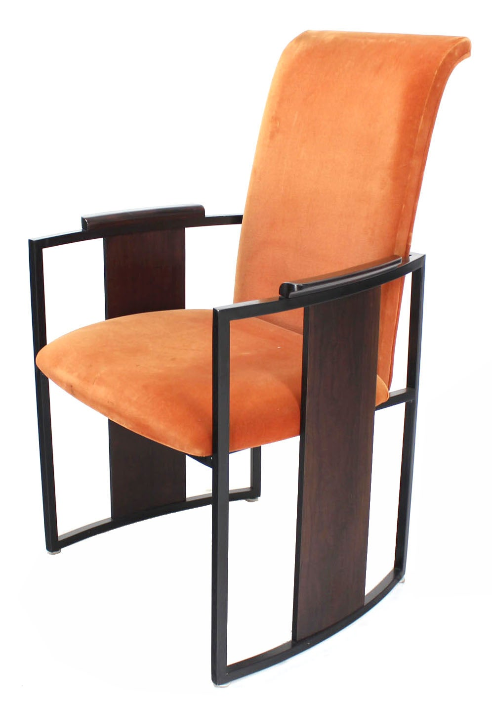set of six mid century modern metal and rosewood frame dining chairs for sale at 1stdibs. Black Bedroom Furniture Sets. Home Design Ideas