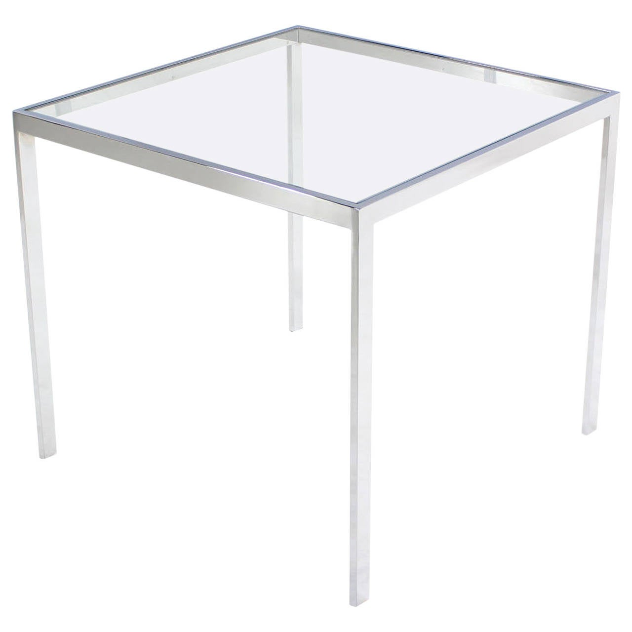 glass side table. square cube chrome and glass side table for sale s