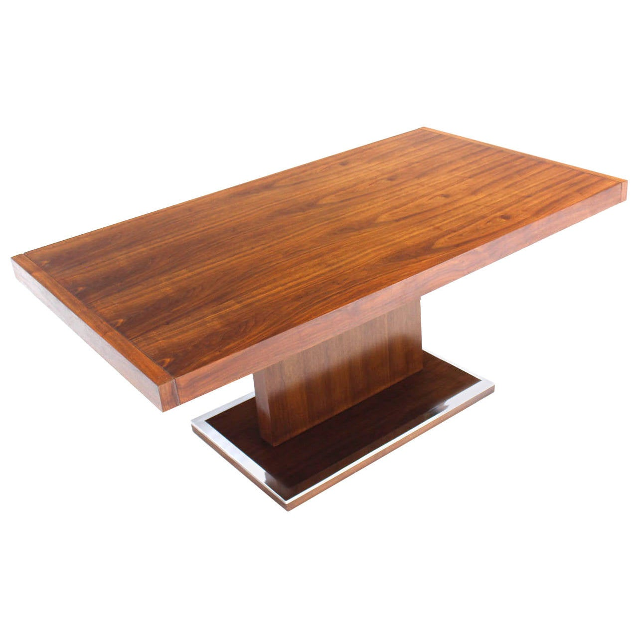 Mid century modern rectangular pedestal base walnut dining for Dining room table pedestal bases