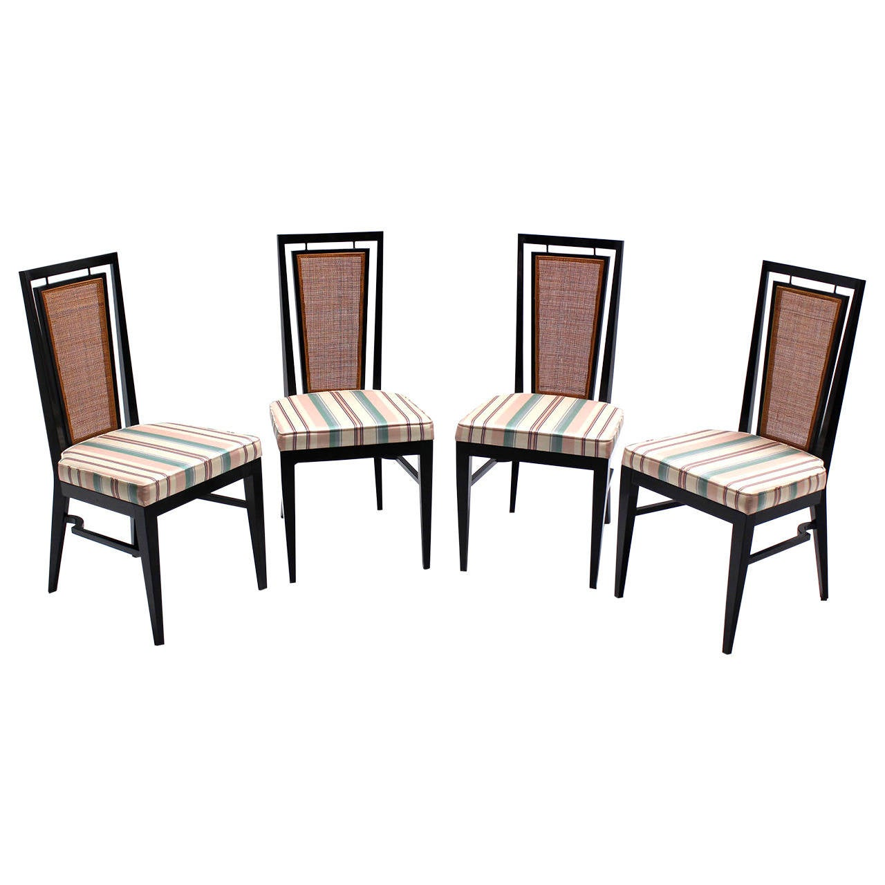 set of four mid century modern ebonized dining chairs with