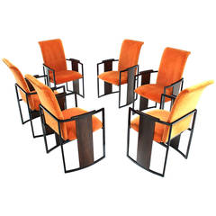 Set of Six Mid-Century Modern Metal and Rosewood Frame Dining Chairs