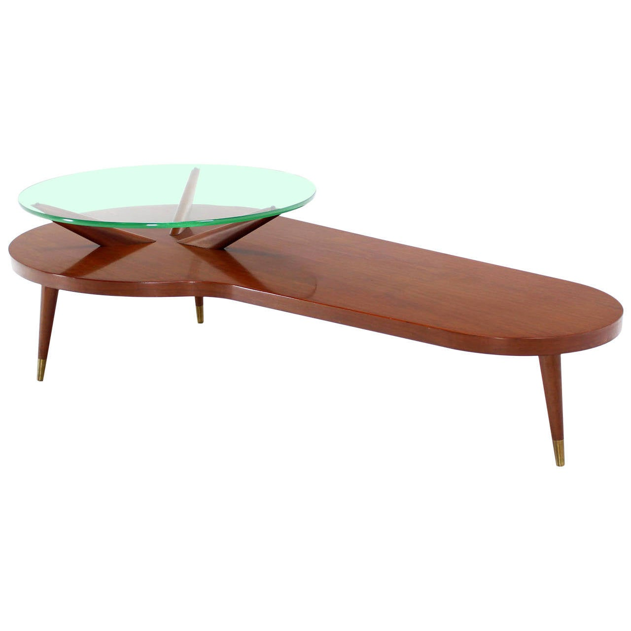 Mid century modern walnut organic kidney shape coffee for Contemporary glass top coffee table