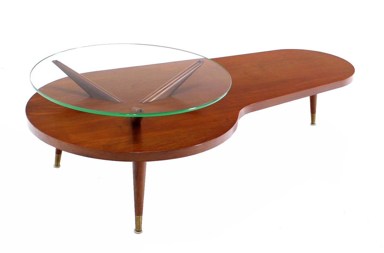 Mid century modern walnut organic kidney shape coffee table round glass top for sale at 1stdibs One of a kind coffee tables