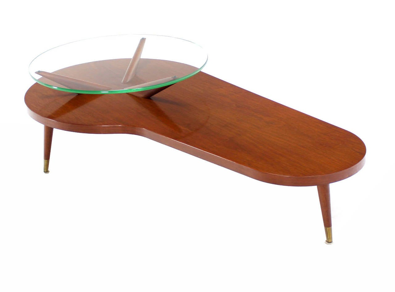 Mid Century Modern Walnut Organic Kidney Shape Coffee Table Round Glass Top For Sale At 1stdibs
