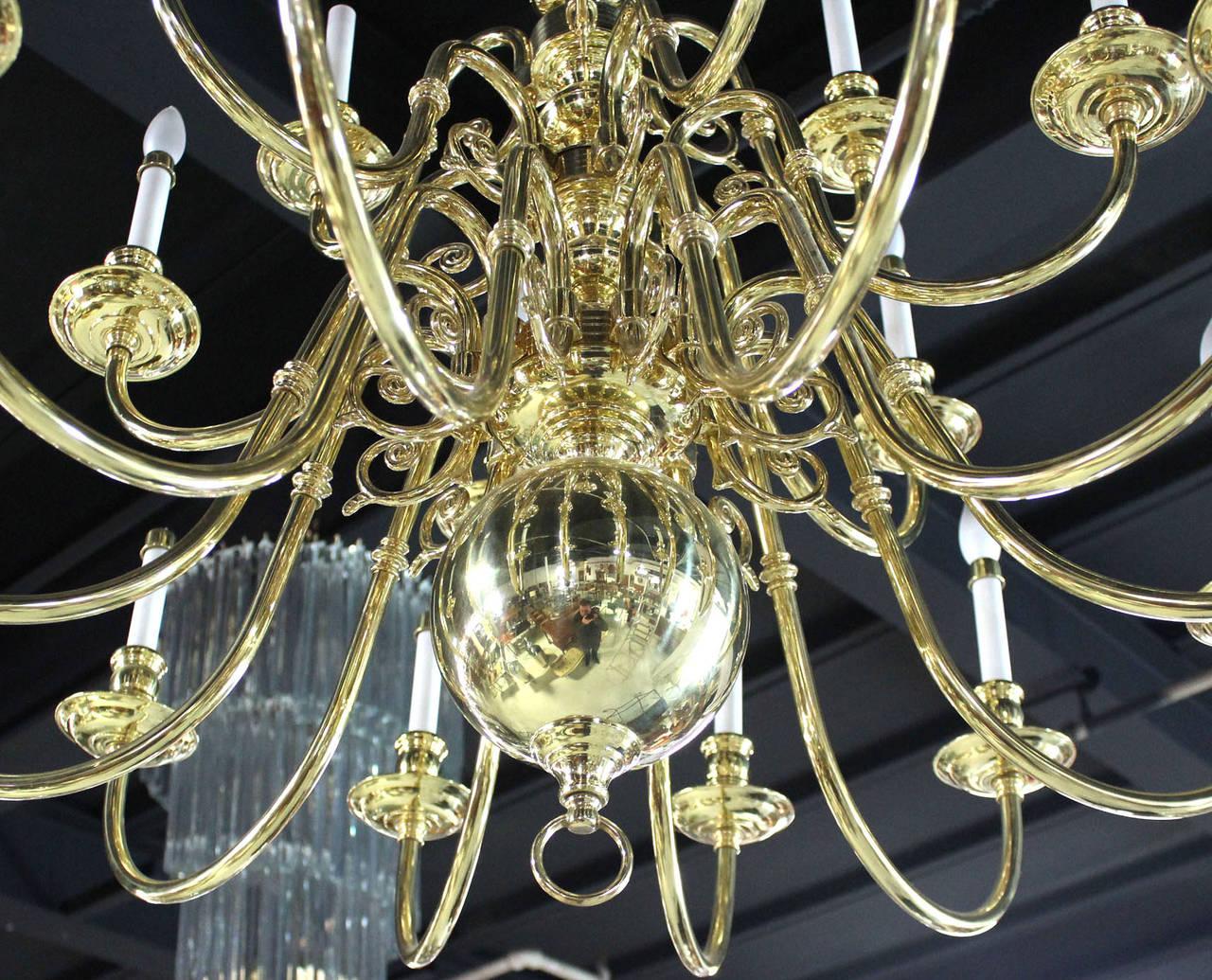 Vintage Brass Candelabra Chandelier For Sale at 1stdibs