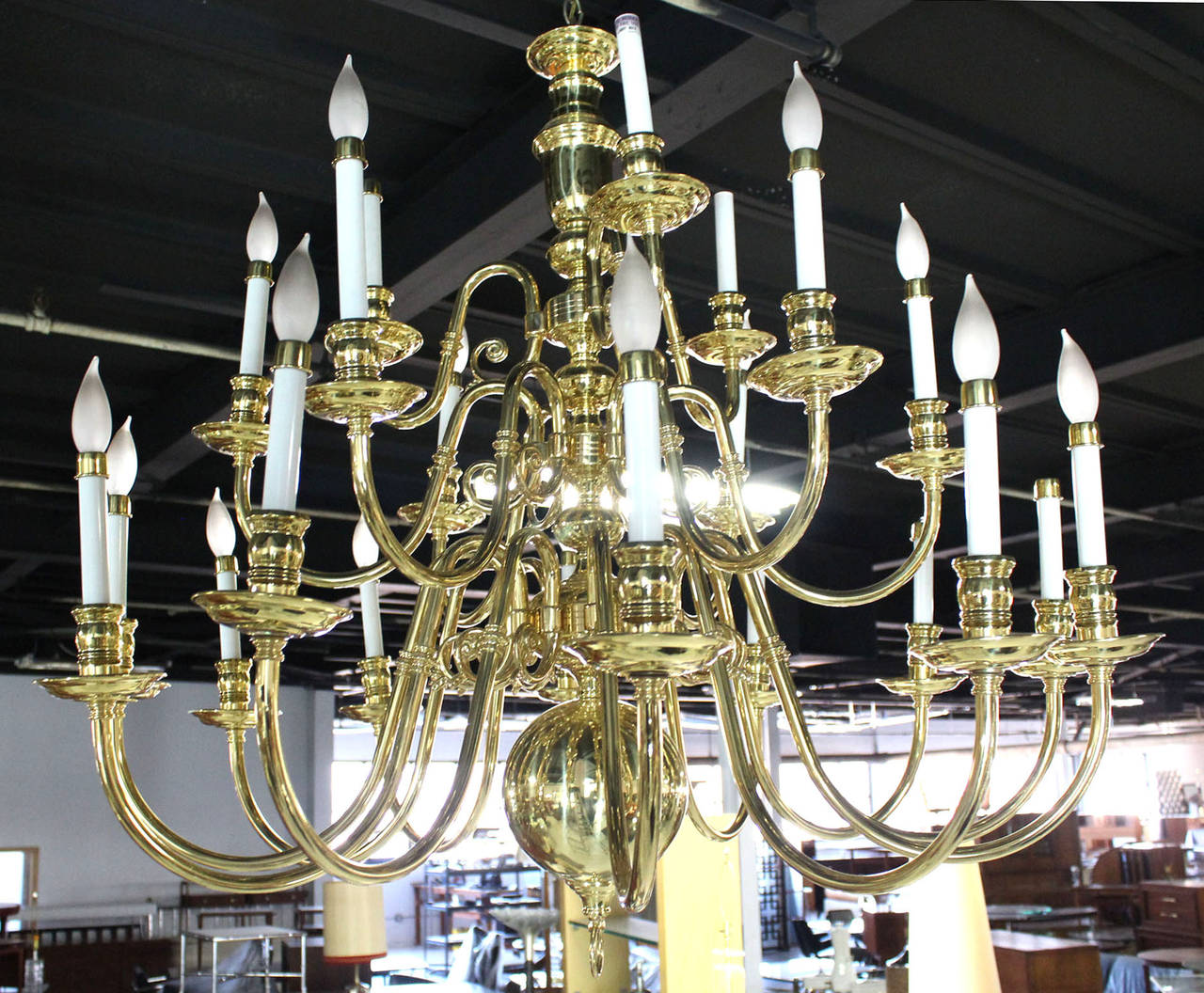 Large vintage brass candelabra chandelier for sale at 1stdibs large vintage brass candelabra chandelier for sale 3 aloadofball Choice Image