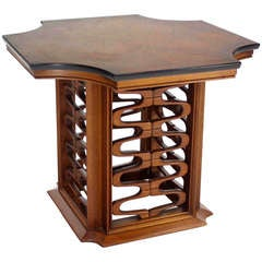 Occasional Side Table with Carved Walnut Base in Midcentury Decor