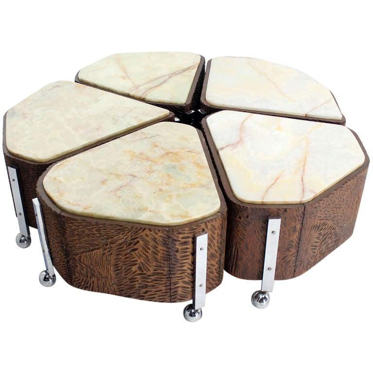 Five Piece Organic Shape Mid Century Modern Coffee Table 1