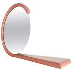 Postmodern Pink Lacquer Mirror with Shelf
