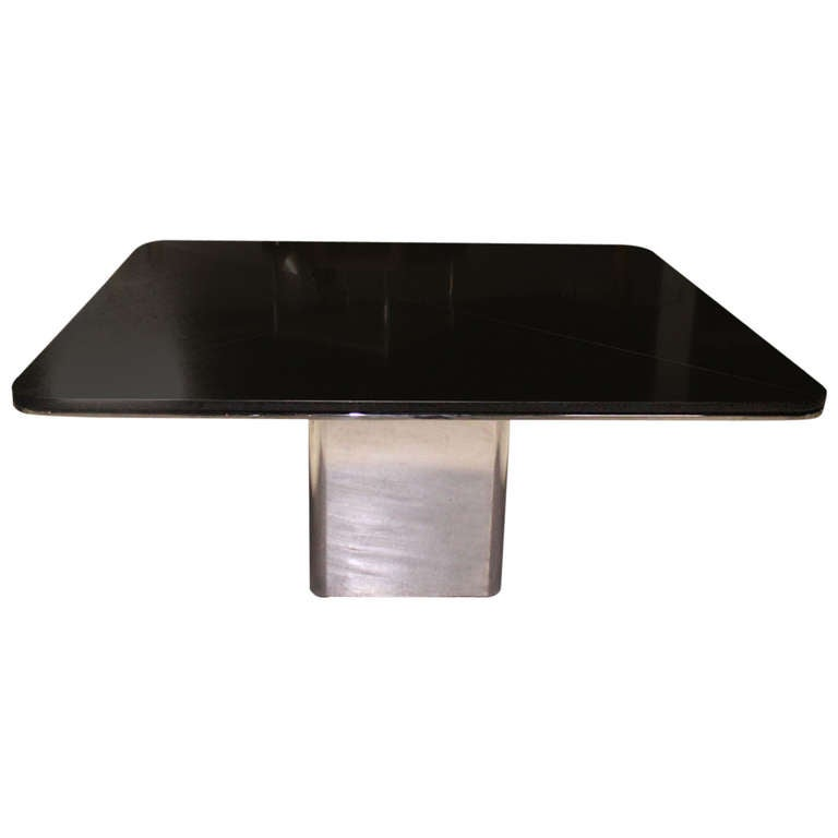 Square Granite Top And Stainless Base Dining Or Conference Table By - Granite conference table for sale