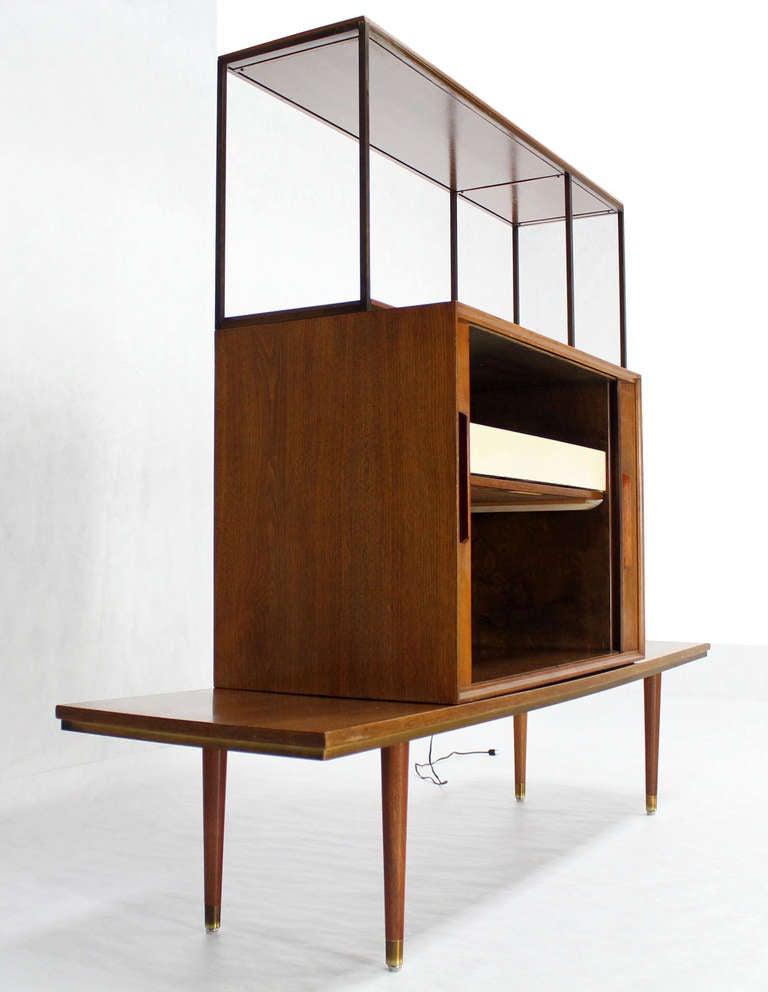 mid century modern walnut etagere credenza room divider tambour door liquor cabinet at 1stdibs. Black Bedroom Furniture Sets. Home Design Ideas