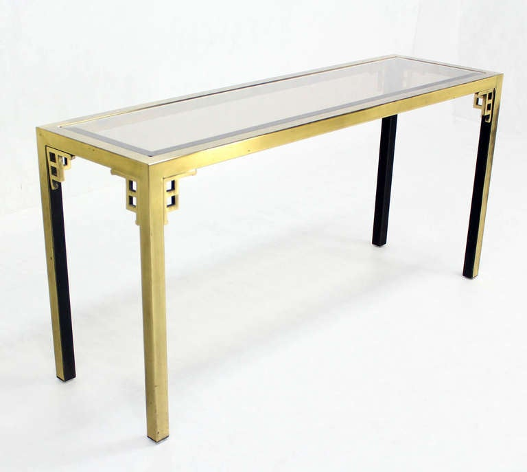Mid Century Sofa Table: Mastercraft Mid Century Modern Brass And Glass Console