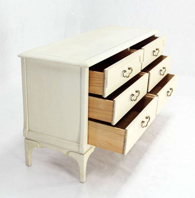 white lacquer mid century modern dresser with ornate drawer pulls for sale at 1stdibs. Black Bedroom Furniture Sets. Home Design Ideas