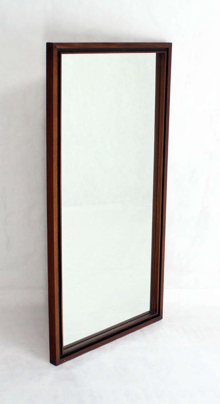 Rectangular milo baughman mid century modern walnut mirror for Modern wall mirror